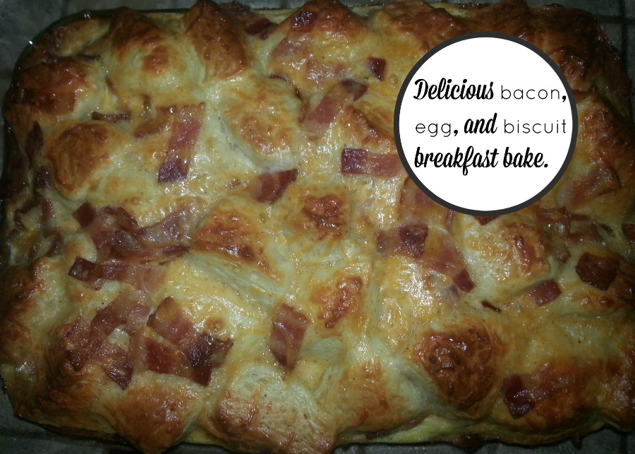 Easy bacon, egg, and biscuit breakfast bake