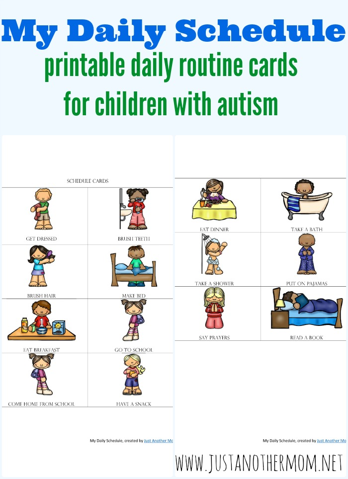 If you're looking to support your autistic child at home or have a pre-reader who needs assistance with their routine, these free daily routine schedule cards are for you! Download your copy today at Just Another Mom
