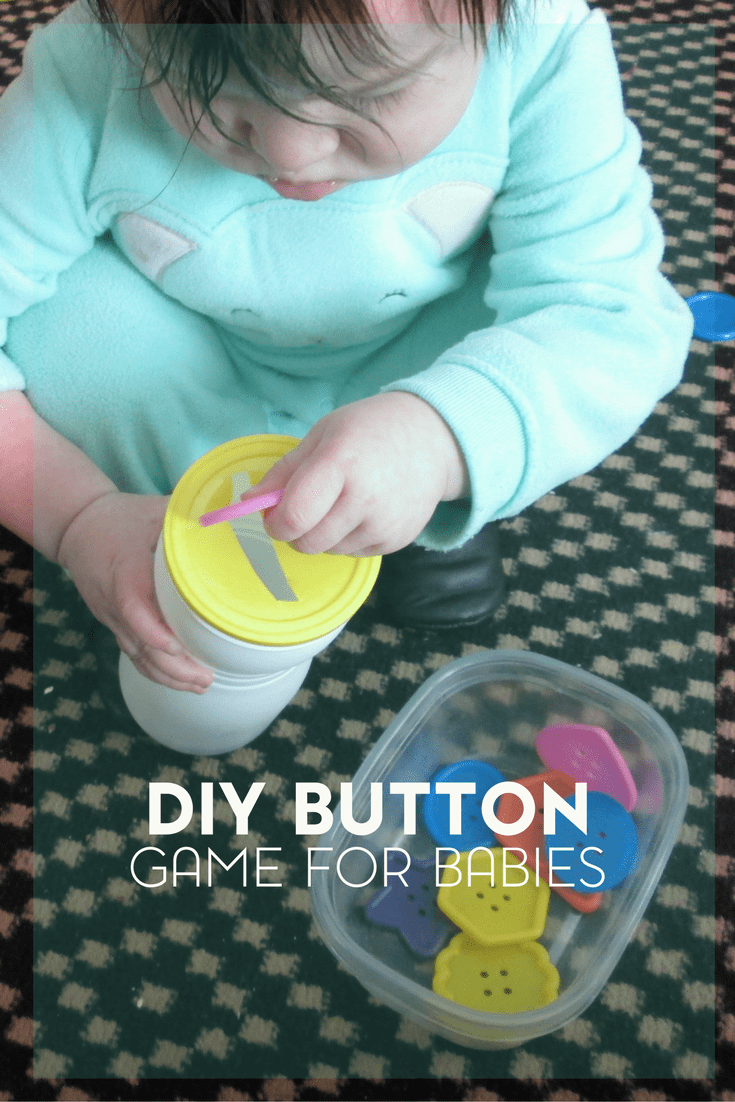 Wanting to work on fine motor skills with your little one? Try this easy DIY button game for babies.