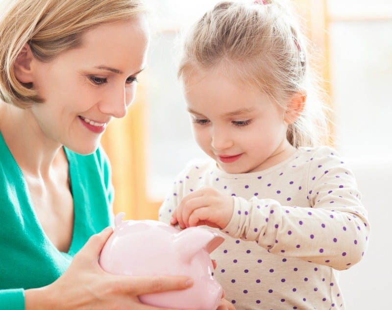 A family piggy bank is a great way to get the youngest family members involved with saving money.