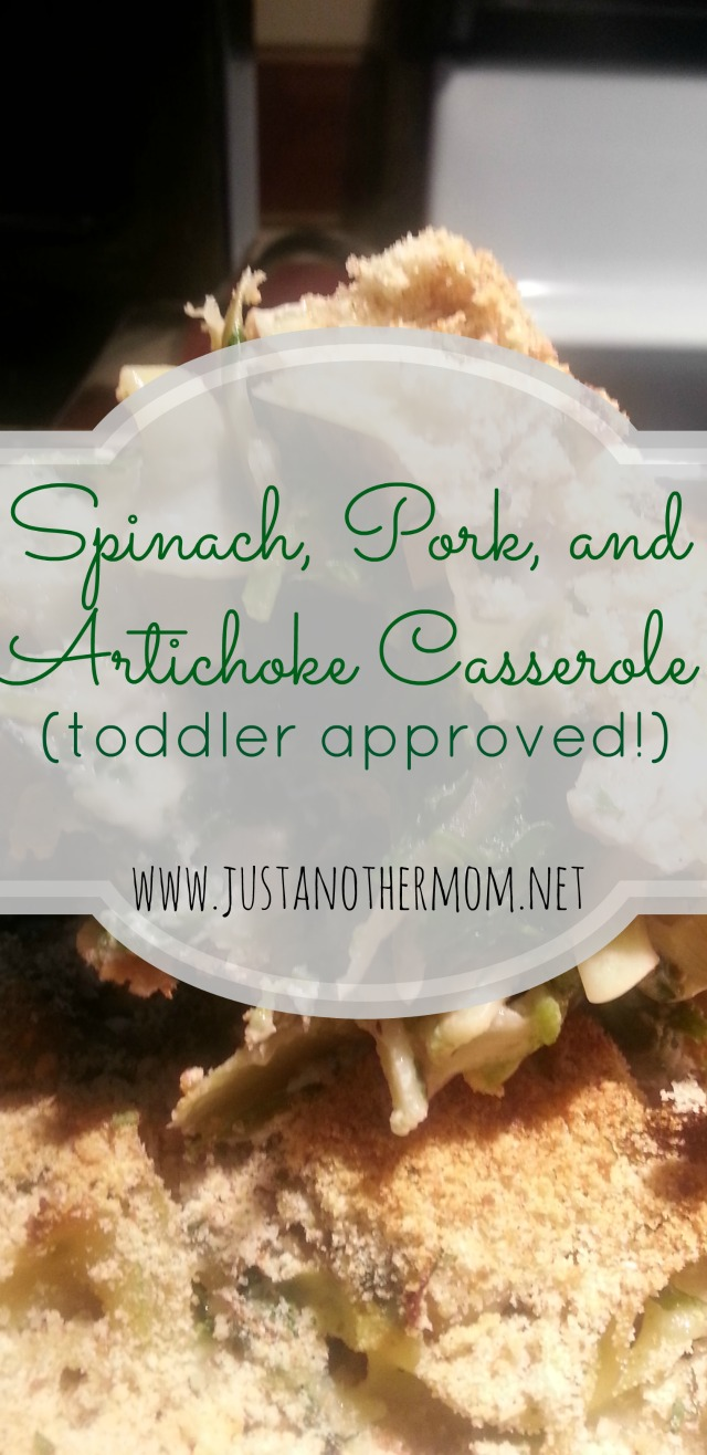 If you enjoy spinach and artichoke dip, you should give this spinach, pork, and artichoke casserole a try.