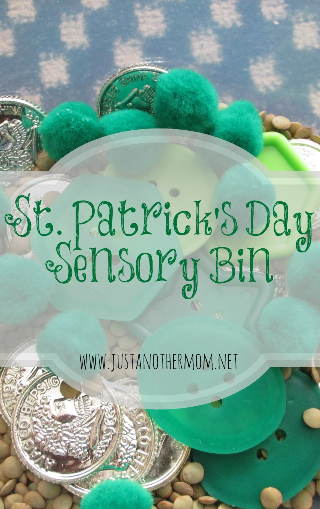 Just in time for St. Patrick's Day next week, here's our simple St. Patrick's Day sensory bin