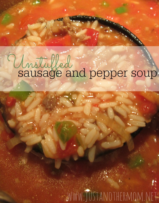 Try this delicious tasty unstuffed sausage and pepper soup
