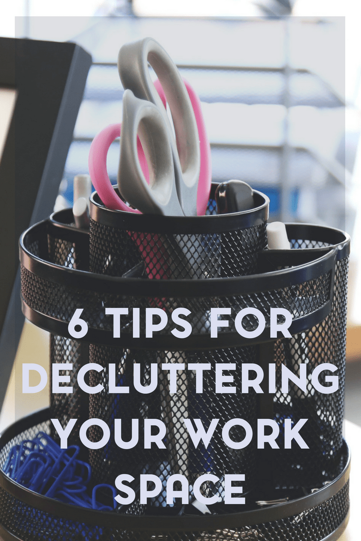 If your work space is organized chaos, be sure to check out these 6 tips for decluttering your work space. Who knows, you may just increase your productivity in the process!