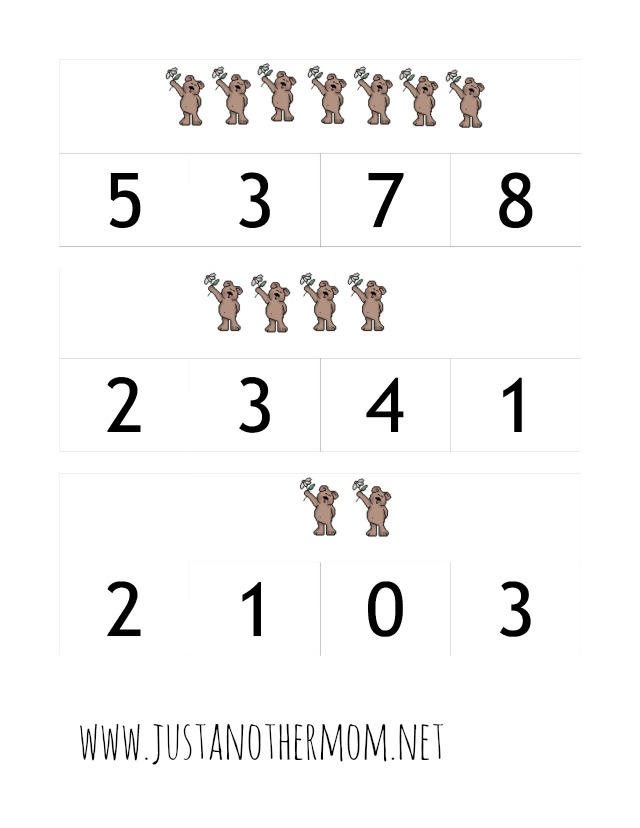 free counting bears printable pack