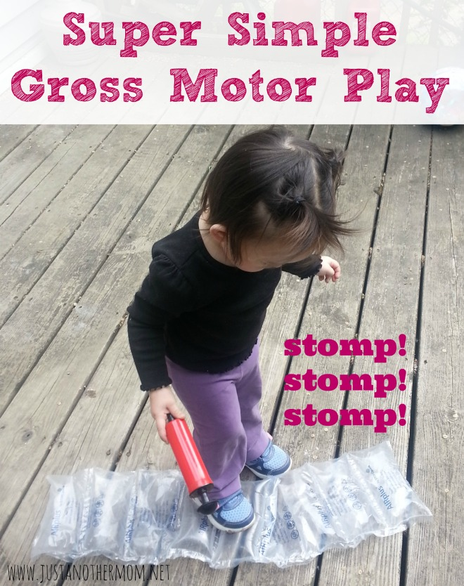 Looking for a super simple gross motor activity? Try this idea using those packing bubbles found in the Amazon boxes.