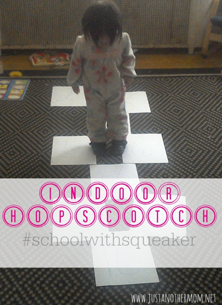 We played indoor hopscotch as part of our gross motor play today and also ended up working in an informal lesson on numbers.