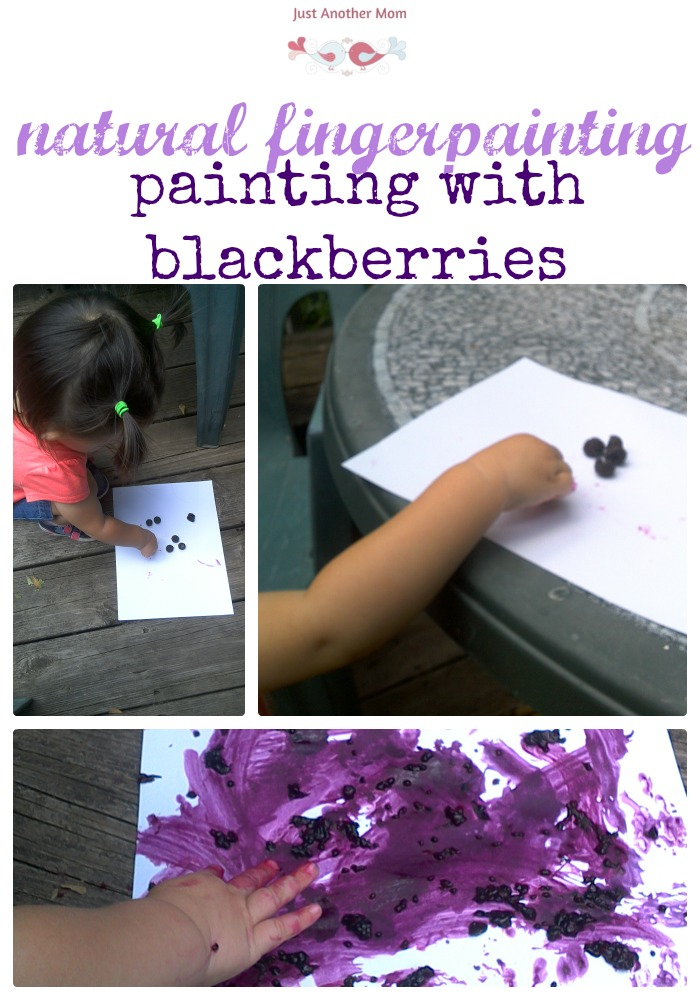 Sunny summer days are perfect for Montessori art outside. We took advantage of the sunny weather and wild blackberry bush to do some natural fingerpainting with blackberries.