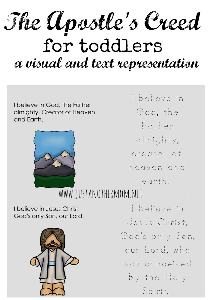 Need a visual way to teach the Apostle's Creed? Try this free printable Apostle's Creed for Toddlers.
