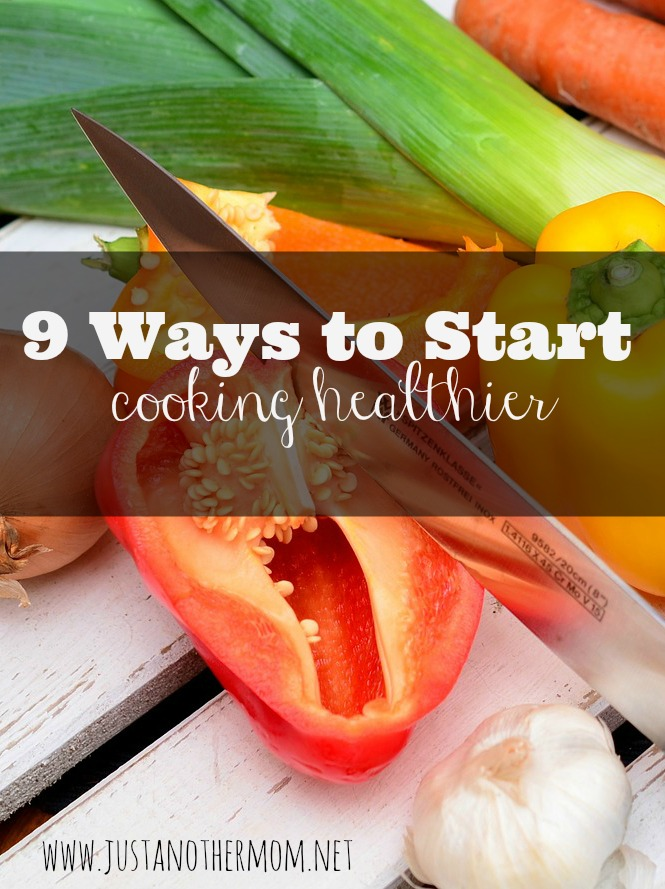 One way to eat healthy is by cooking healthy. Here are nine easy ways to start cooking healthier at home.