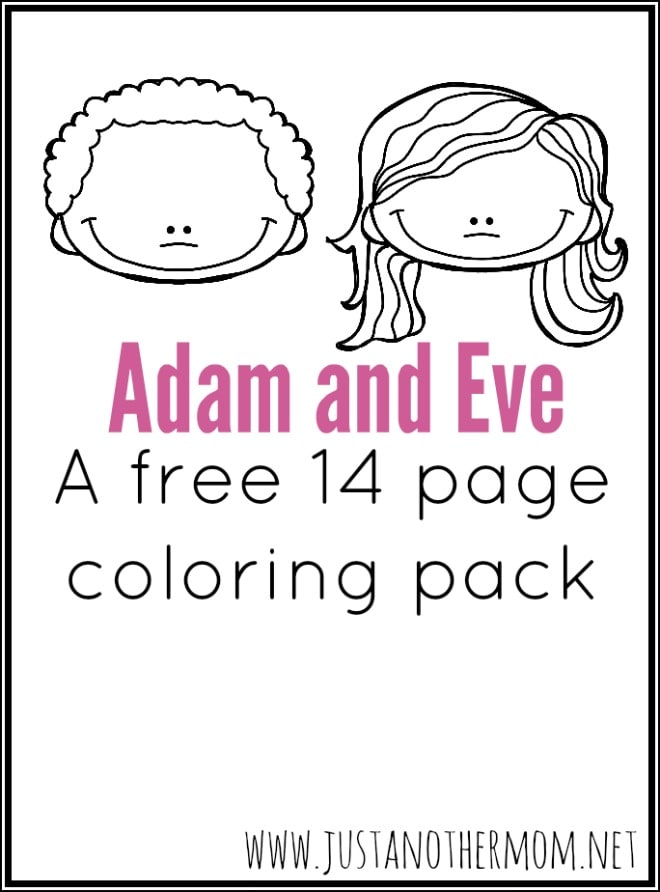 Adam and eve coloring pack for Coloring pages adam and eve