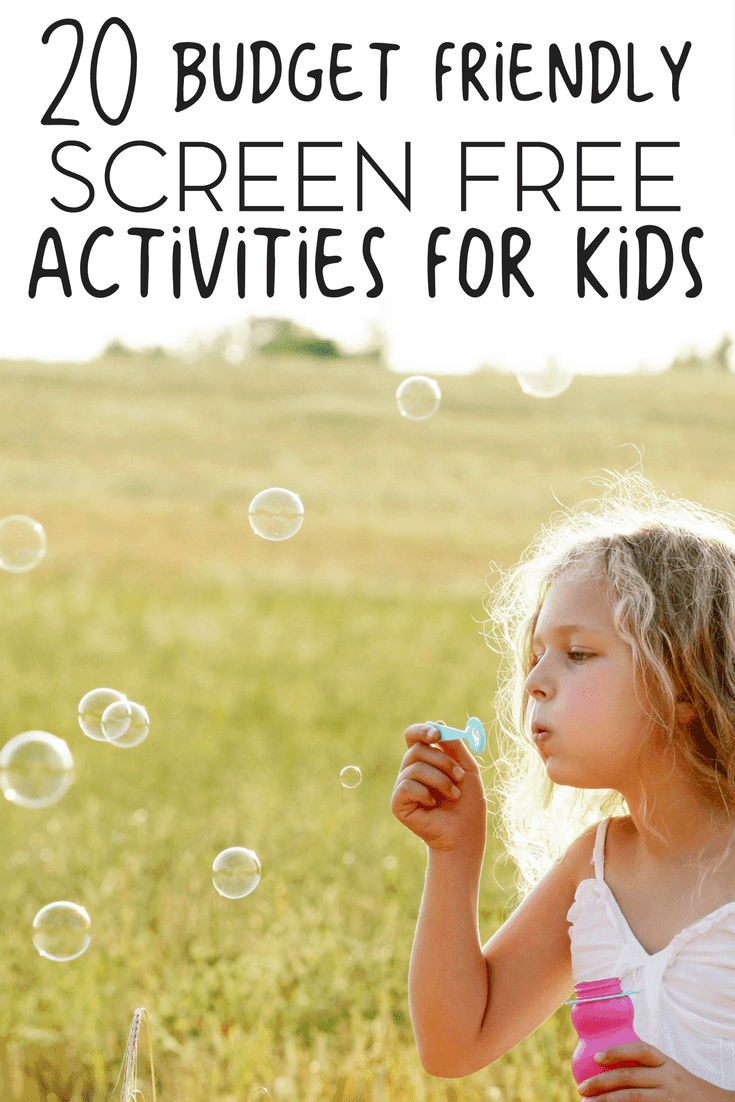 "Summer will be here before you know it! Keep the ""I'm bored"" cry at bay with these 20 budget friendly screen free activities for kids."