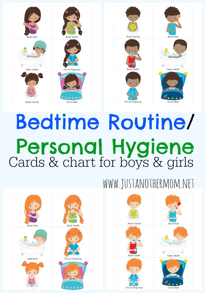 graphic about Children's Routine Charts Free Printable named Individual Cleanliness and Bedtime Plan Chart and Playing cards for