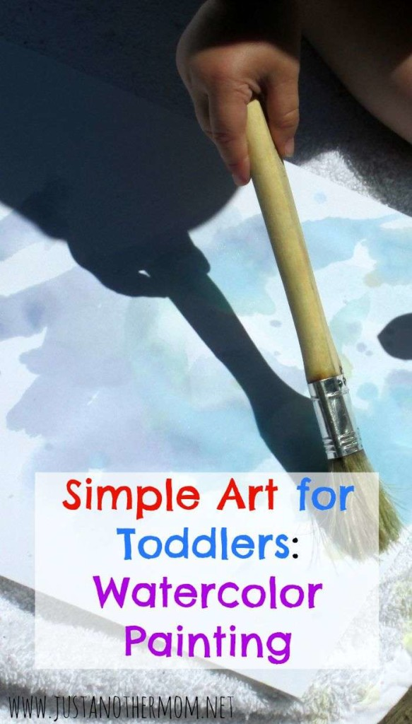 Painting with toddlers doesn't have to be too messy. In fact, we had some simple fun outside and enjoyed watercolor painting for toddlers without making too much of a mess.
