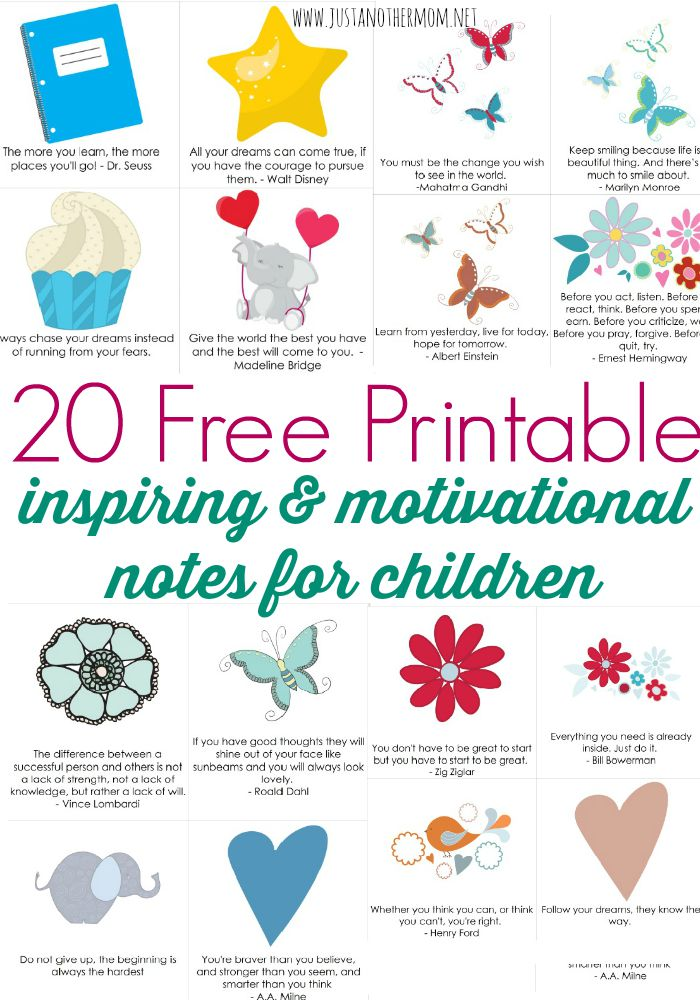 Looking for a way to inspire and motivate your kids? Download this free pack of 20 printable notes for kids today.