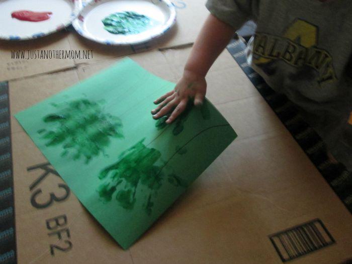 handprint and pom pom apple tree 3