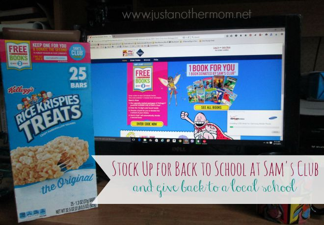 Stock up at Sam's Club for all of your back to school needs. Purchase one of the specially marked packages and redeem a code for a free book. Kellogs will send a free book to a local school in need.