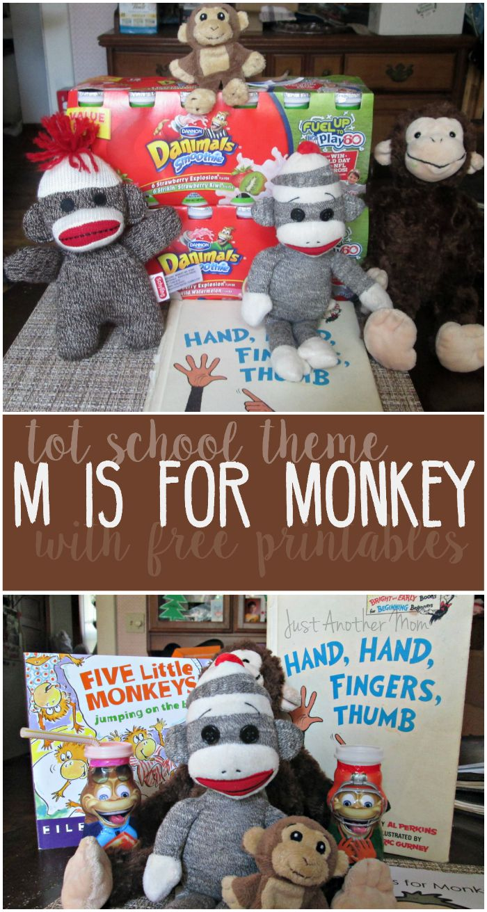 Do you have a toddler or preschooler with an interest in monkeys? #Fueltheiradventures and check out this fun M is for Monkey tot school unit with free printables! #Ad