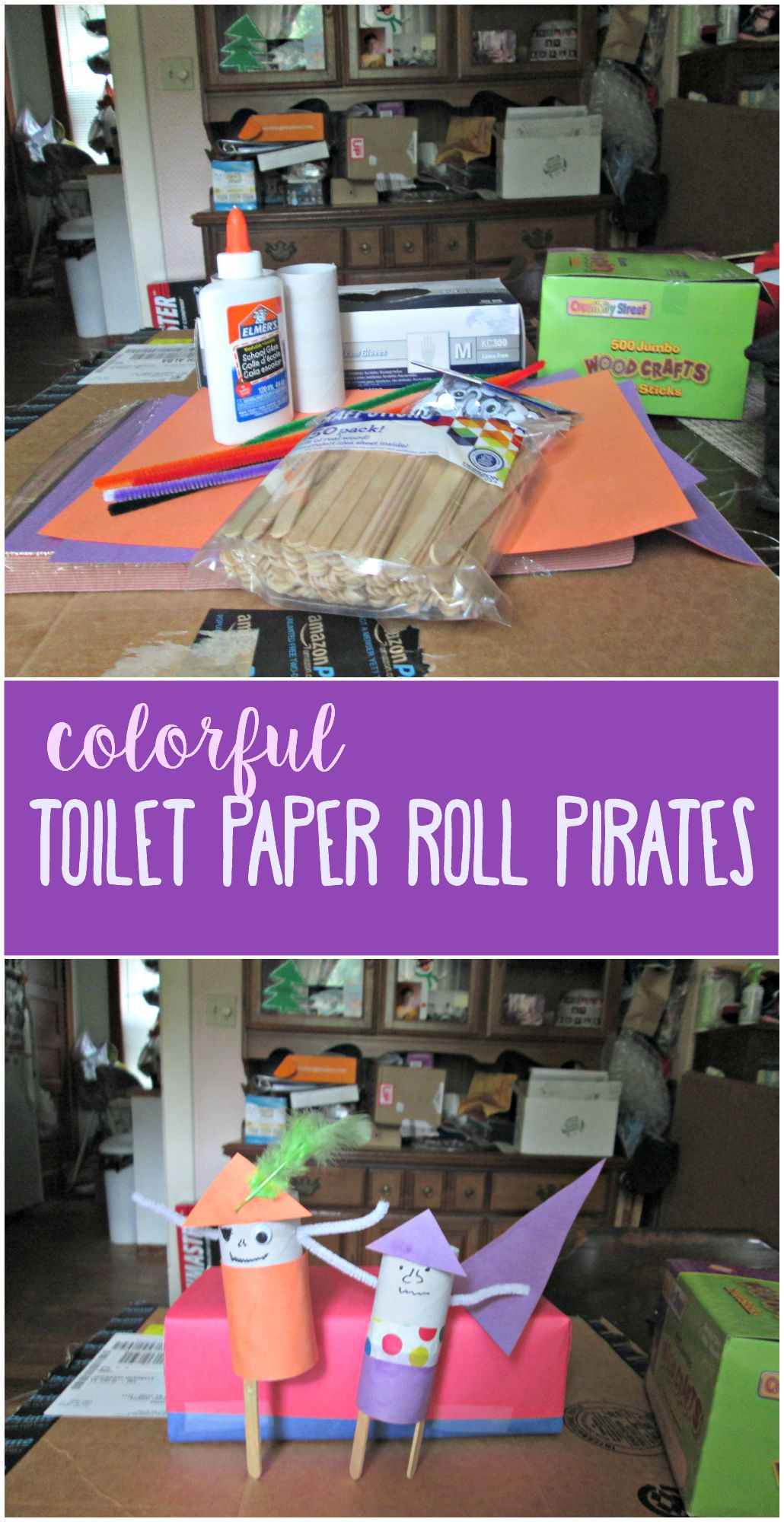 Celebrate Talk Like a Pirate day with this fun and colorful toilet paper roll pirate craft.