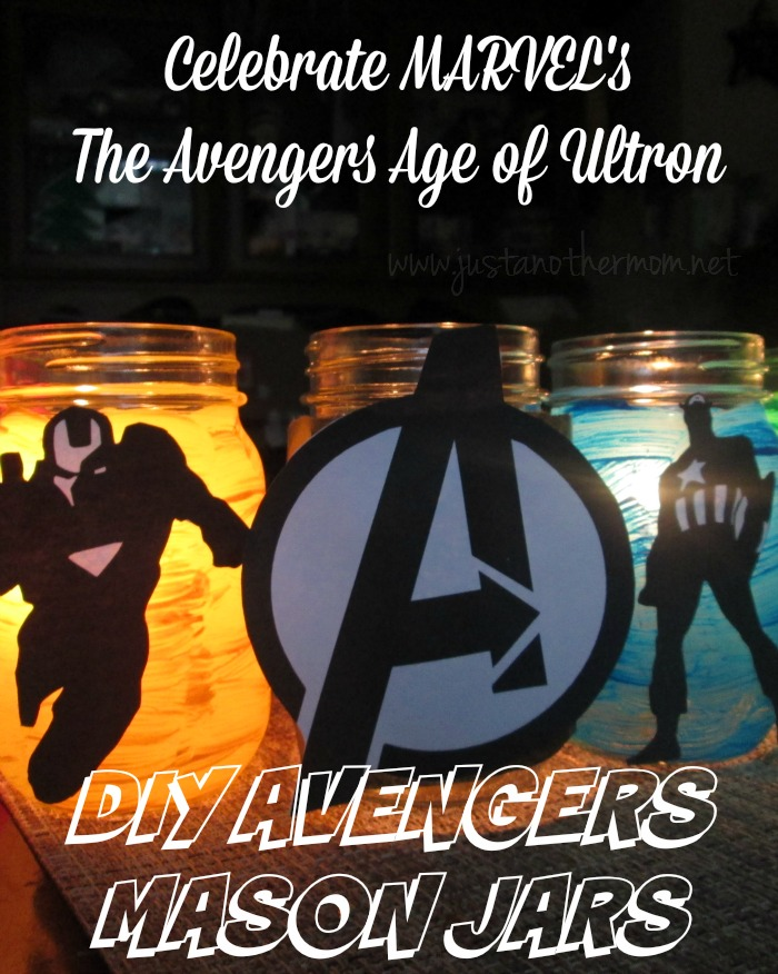 Celebrate the release of MARVEL'S The Avengers Age of Ultron with these DIY Avengers mason jars.