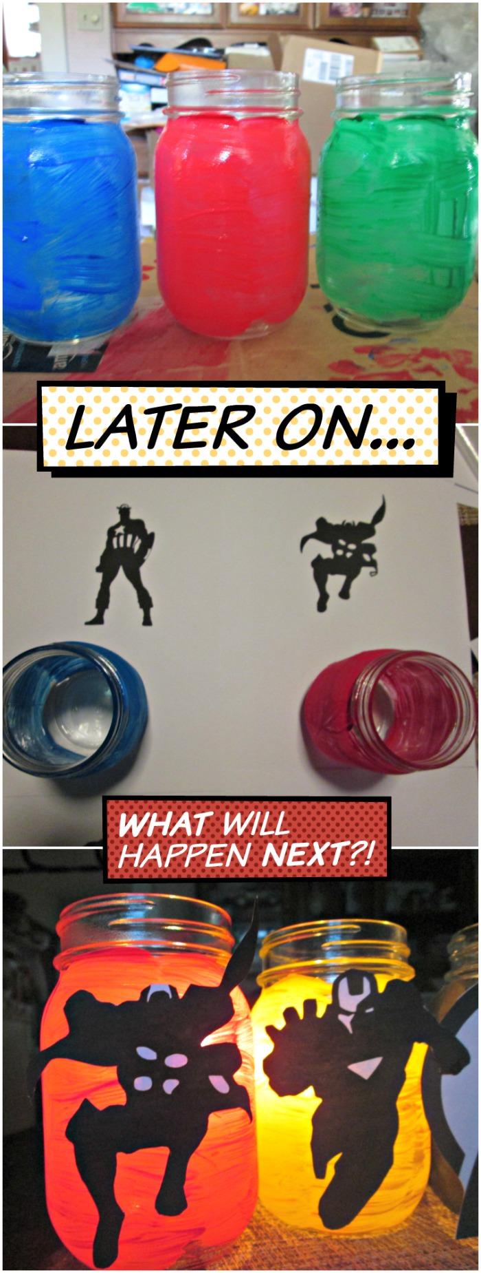 diy avengers mason jars steps