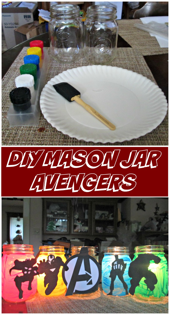 Celebrate the release of MARVEL's Captain America: Civil War, or The Avengers Age of Ultron with these fun DIY mason jar avengers. #AvengersUnite #ad