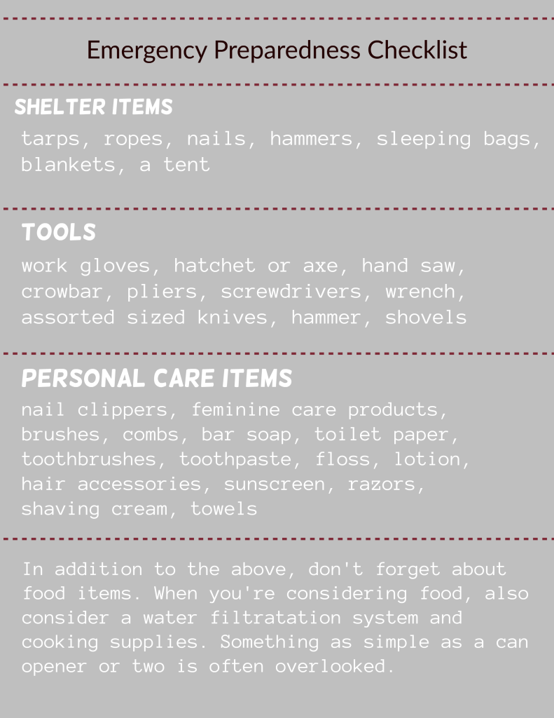 emergency preparedness checklist printable