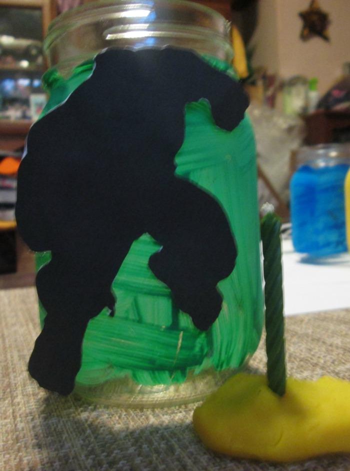hulk mason jar with birthday candle