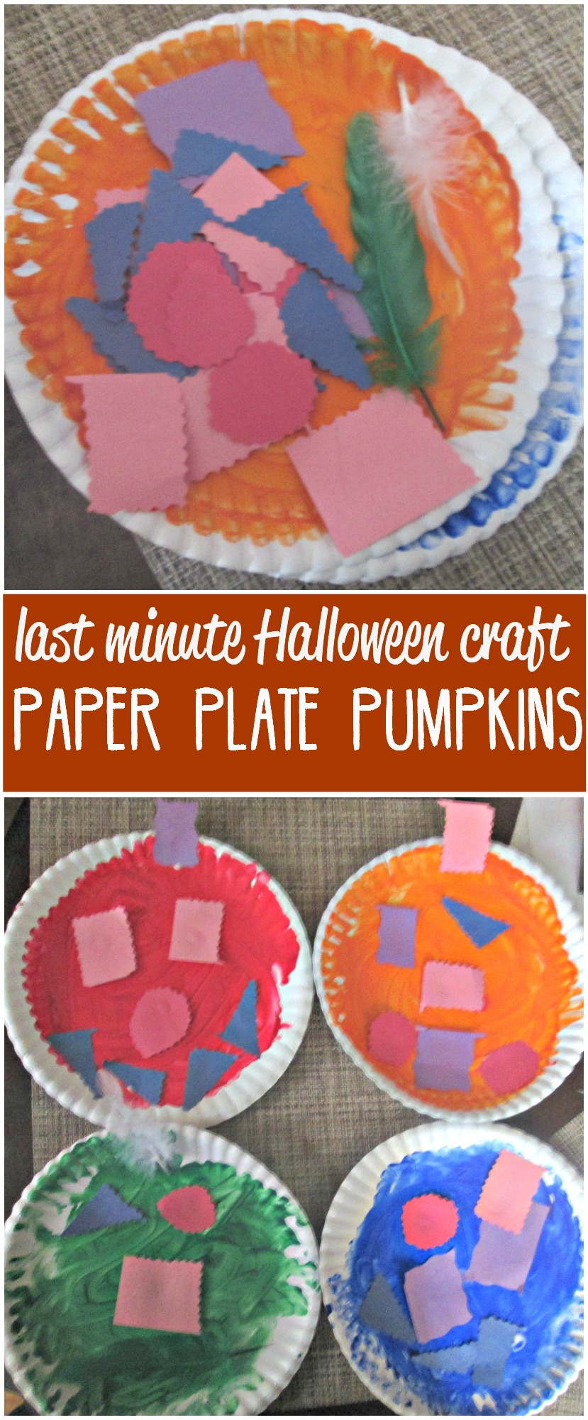 Need an easy last minute Halloween activity? Try these paper plate pumpkins! We also worked on numbers, shapes, and colors while we made them.