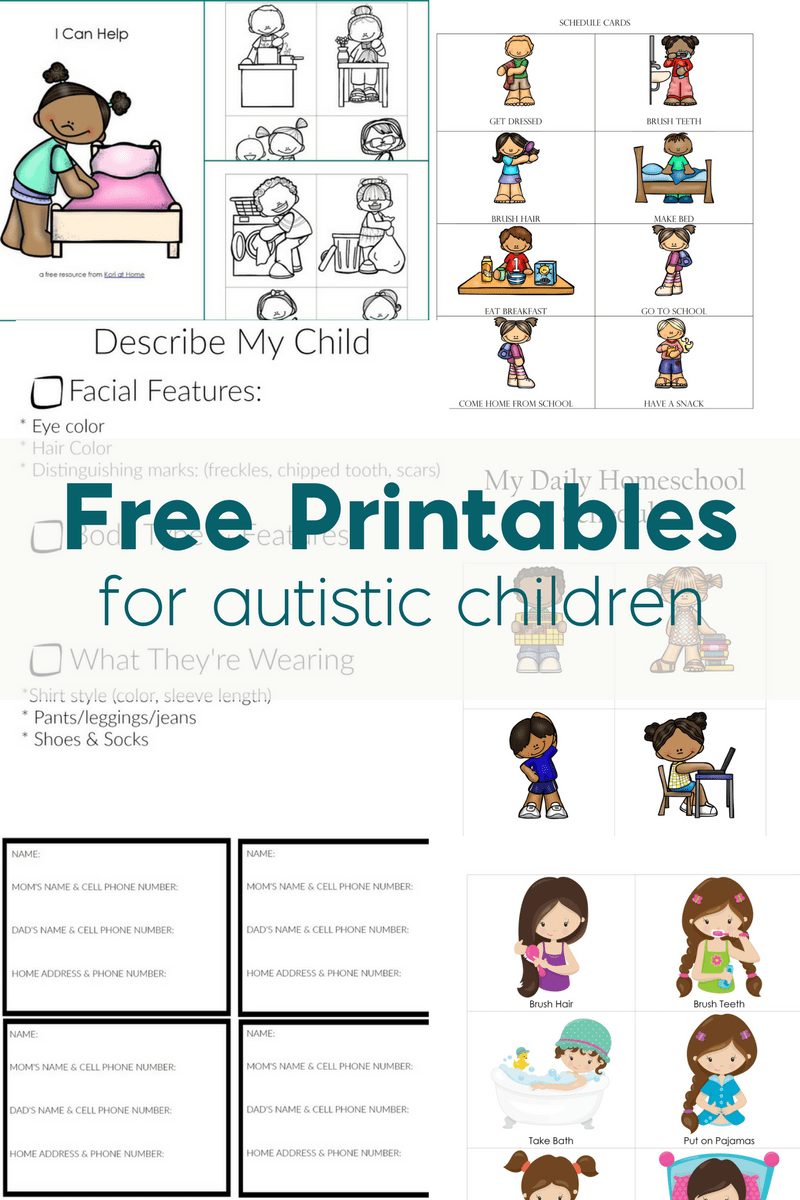 Free printables for autistic children and their families or caregivers save nvjuhfo Choice Image