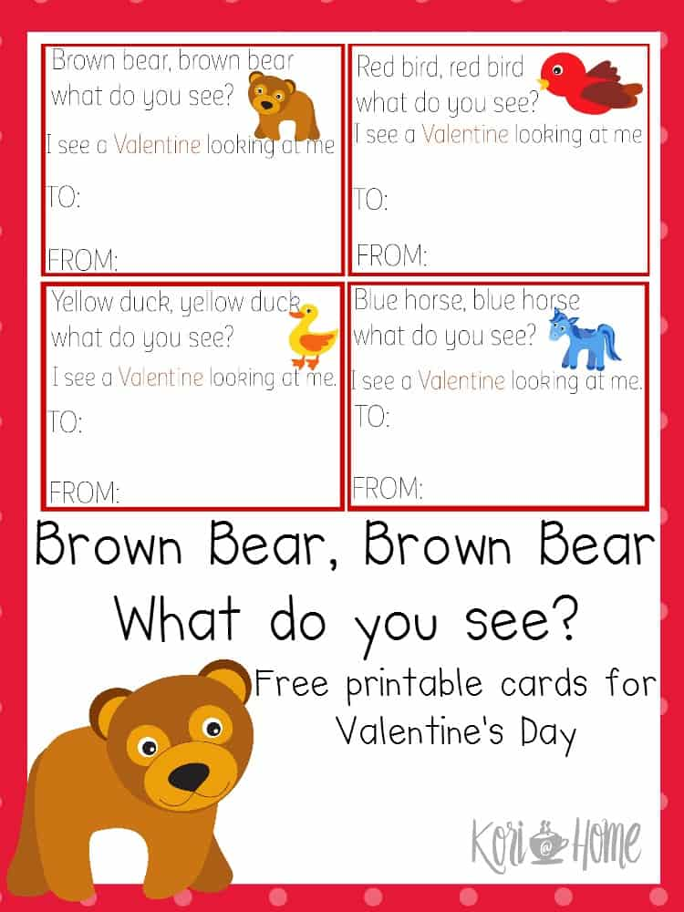 photograph about Brown Bear Brown Bear Printable Book titled Absolutely free Brown Go through Brown Undergo Valentines Working day Playing cards
