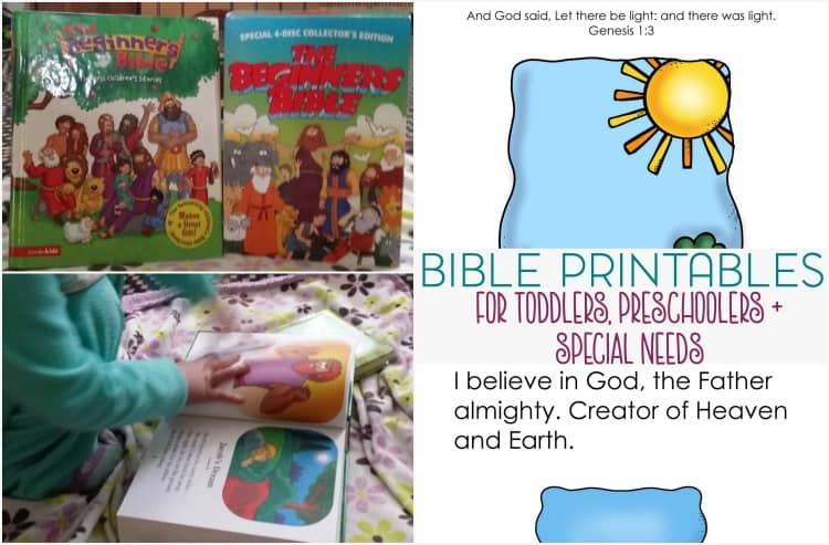 As my toddler grows, I want to introduce more of her faith to her. These Bible printables for toddlers do just that. Also useful for preschool, special needs children, and Sunday School.
