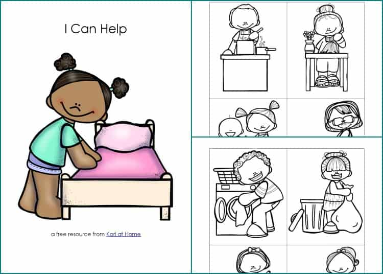 Are your kids old enough to help out around the house? Download this free set of I Can Help chore cards.