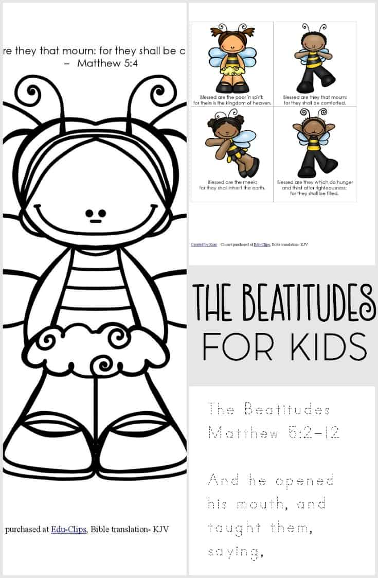 Does your toddler or preschooler know the Beatitudes? Help them learn with this free Beatitudes printable pack for kids. Also great for Sunday School!