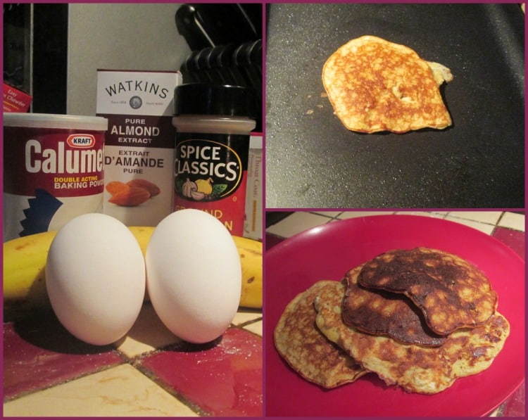 Here's my take on flour free pancakes. With banana, cinnamon, and almond.