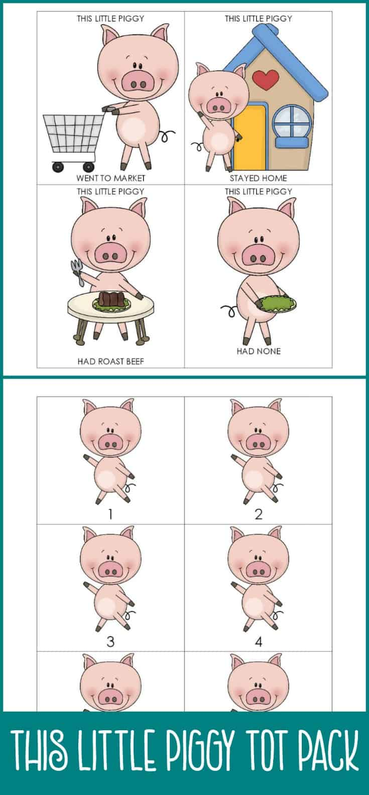 If you love nursery rhymes, you're sure to love my free This Little Piggy tot pack! Ideal for your toddler or preschooler.