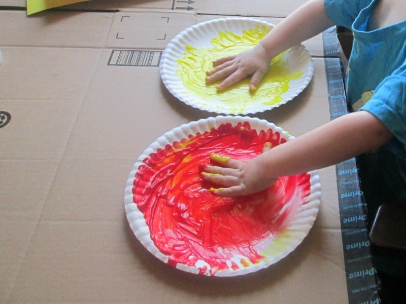 hand and foot print sun painting