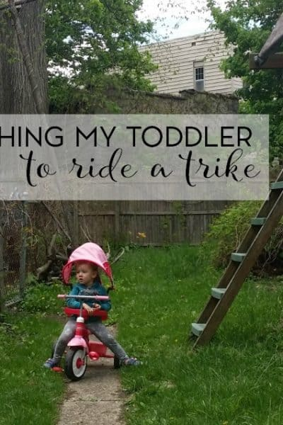 Learning how to ride a tricycle is a huge developmental and gross motor step. See how we're handling this with our toddler.