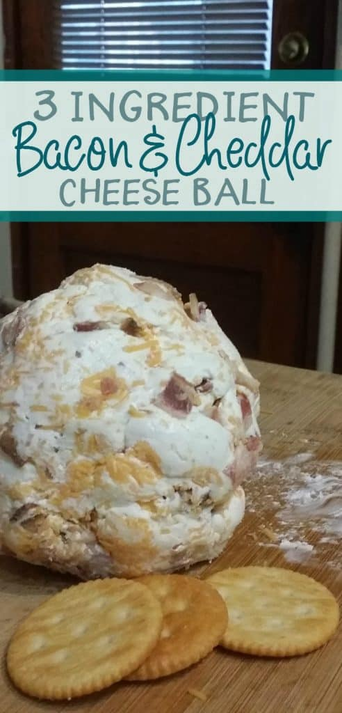 If you're in need of a budget friendly, crowd pleasing appetizer? This is it! This three ingredient bacon and cheddar cheese ball is so easy to make and easy to double (or triple) as needed.