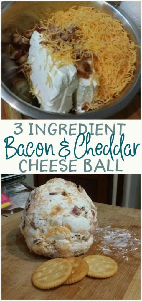 This bacon and cheddar cheese ball is so easy to make! A definite crowd pleaser, you can easily double the quanity as needed.