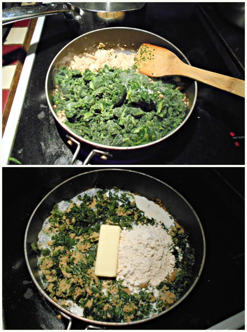 mixing in the spinach and cheese