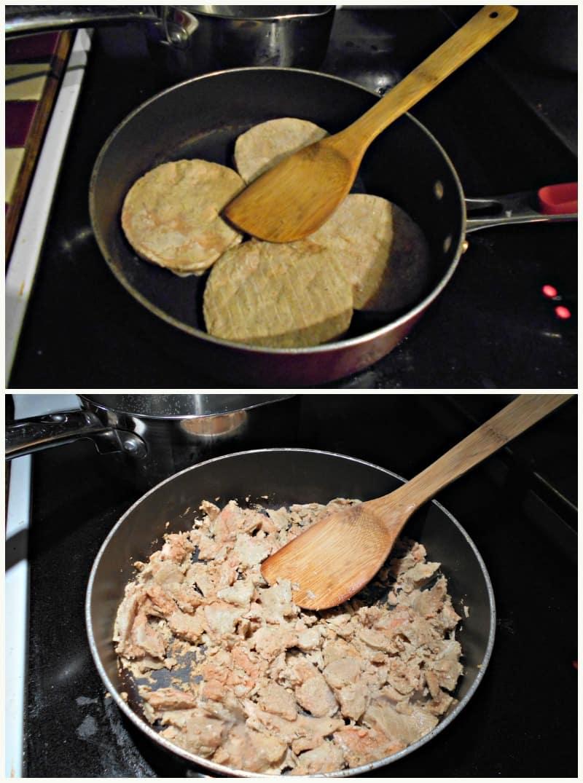 salmon burgers in the pan