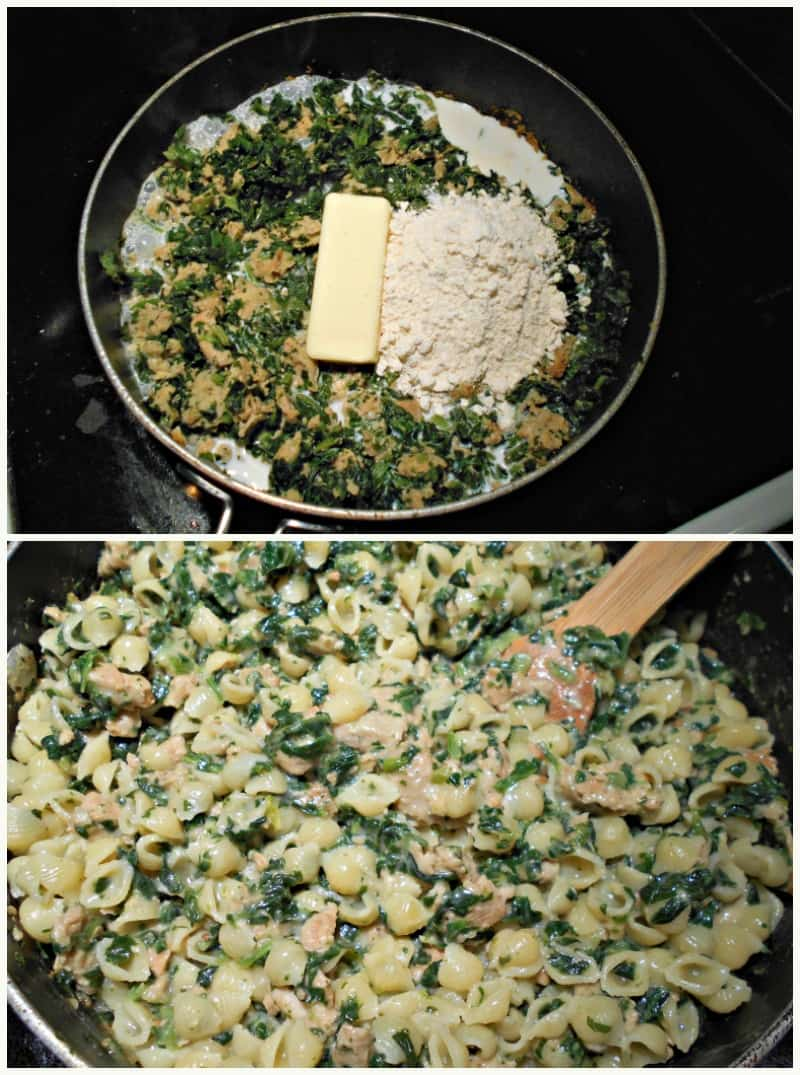 salmon spinach mac and cheese