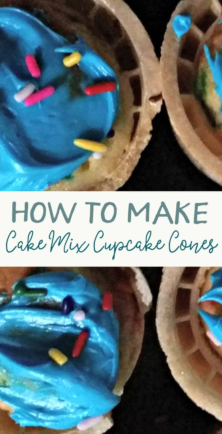 Your toddler or preschooler can help you bake these easy cupcake cones that use a boxed cake mix. So easy and a fun beginner's baking project.