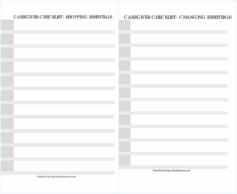caregiver-checklists