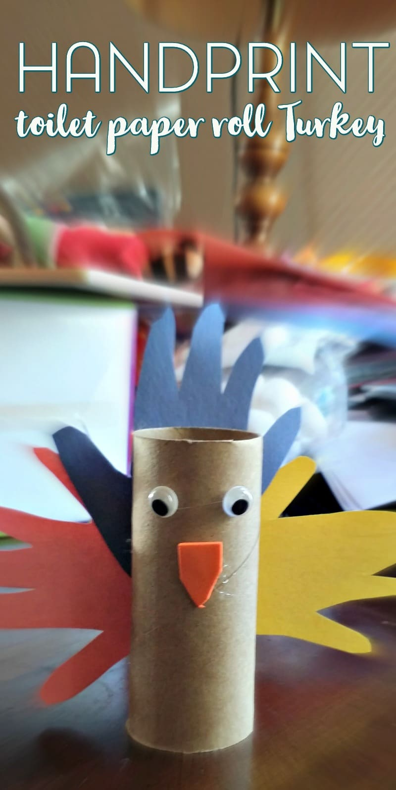 Handprint Toilet Paper Roll Turkey Craft for Kids
