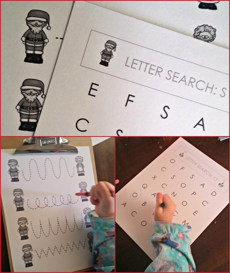Christmas Themed Prewriting and Letter Hunt for Toddlers