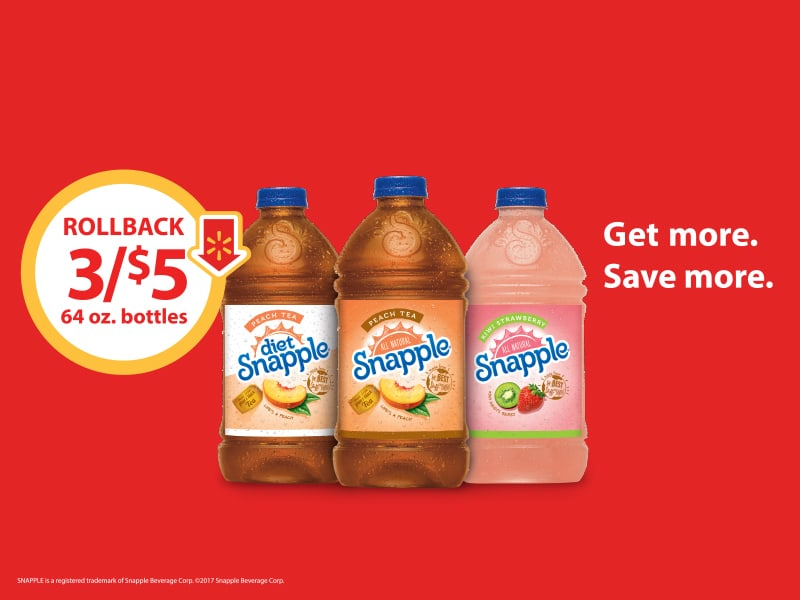 Stock Up on Snapple 64 Oz. Peach, Diet Peach, and Kiwi Strawberry- Buy 3/$5 on Rollback at Walmart 1