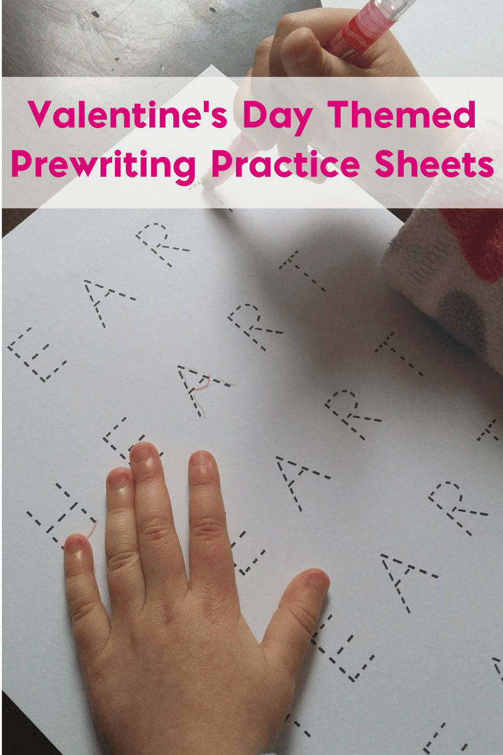 Valentine's Day Themed Prewriting Practice Sheets 1