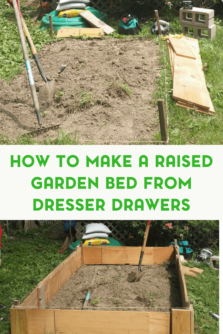 If you're thinking of starting a garden, why not try a raised bed. This raised garden bed was made from old dresser drawers